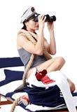 Rétro verticale de belle femme Photos stock