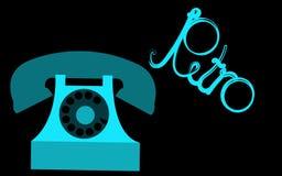 Rétro, vieux, antique, hippie, vintage, antique, disque, téléphone bleu avec un tube avec une rétro inscription écrite dans le be Images stock