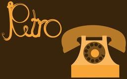 Rétro, vieux, antique, hippie, vintage, antique, disque, téléphone d'or avec un tube avec une rétro inscription écrite dans le be Image stock