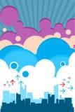 Rétro ville urbaine avec des nuages illustration stock