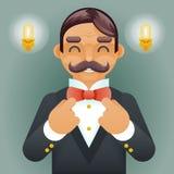 Rétro vintage de monsieur d'homme d'affaires de Character Correct Tie d'arc d'icône de fond élégant victorien riche de lampe gran illustration libre de droits