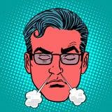 Rétro visage de mâle d'émotions de rage de colère d'Emoji illustration de vecteur