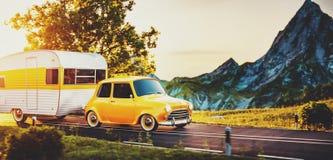 Rétro voiture avec la remorque blanche Illustration 3d peu commune d'une caravane classique Concept campant et de déplacement Images libres de droits