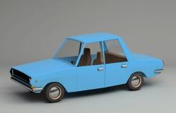 rétro voiture 3d bleue dénommée drôle illustration stock