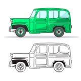 Rétro voiture dans le style de bande dessinée Automobile d'ensemble de couleur et de noir rétro Ensemble tiré par la main de voit illustration libre de droits