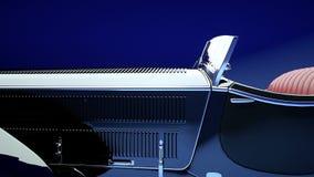Rétro voiture noire de luxe avec le salon rouge Lumière de studio Animation 4K réaliste illustration libre de droits