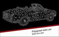 Rétro voiture polygonale sur le fond foncé Illustration Stock
