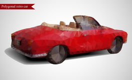 Rétro voiture polygonale sur le fond gris Style géométrique Illustration de Vecteur