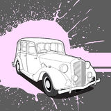 Rétro voiture sur le fond lumineux Photo stock