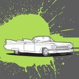 Rétro voiture sur un fond foncé Image stock