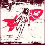 Rétro voyage dans l'espace illustration stock