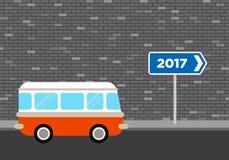 Rétro voyage de fourgon à l'illustration 2017 plate de conception de concept Photo stock