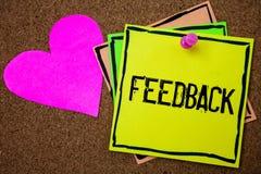 Rétroaction des textes d'écriture de Word Le concept d'affaires pour l'évaluation de réaction d'opinion d'examen de client donnen images stock