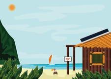 Rétrograder moderne, la vie sur une île tropicale Occasion de repenser votre vie et d'obtenir clair ce qui vous voulez ou trouvez illustration stock