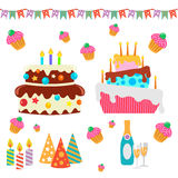 Rétros éléments de conception de célébration d'anniversaire - pour Image libre de droits