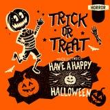 Rétros éléments de Halloween illustration stock