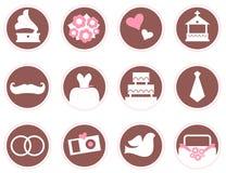 Rétros éléments et icônes de conception de mariage Photos libres de droits