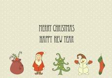 Rétros éléments et illustrations de Noël, Photo stock