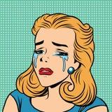 Rétros émoticônes de fille de cri de larmes d'Emoji illustration de vecteur