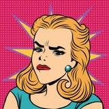 Rétros émoticônes de fille de dégoût de colère d'Emoji illustration stock