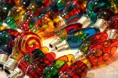 Rétros ampoules de couleur de style image stock