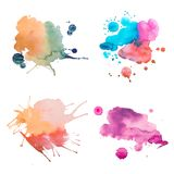 Rétros aquarelle d'abrégé sur vintage/peinture colorées de main art d'aquarelle sur le fond blanc Photos stock