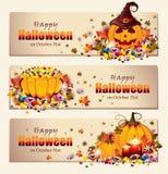 Rétros bannières de Halloween Photo libre de droits