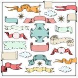 Rétros bannières et rubans de couleurs Photo libre de droits