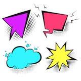 Rétros bulles colorées de la parole avec l'ombre blanche illustration de vecteur