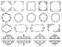 Rétros cadres de décoration Frontière en filigrane de remous de vintage, cadre décoratif élégant et éléments fleuris de classique illustration stock