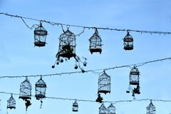 Rétros cages à oiseaux, décoration Photos stock