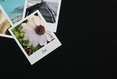 Rétros cartes instantanées de cadres de photo du vintage quatre sur le fond noir avec des images de nature Photos libres de droits