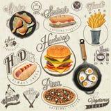 Rétros conceptions d'aliments de préparation rapide de style de vintage Photo libre de droits