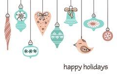 Rétros décorations mignonnes de Noël Photos stock