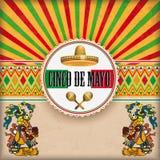Rétros dieux de Sun Cinco De Mayo Ornaments Emblem Maya de couverture Photo stock