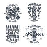 Rétros emblèmes de Longboard Image libre de droits