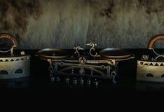 Rétros fer et échelles métallisés par antiquité Images stock