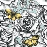Rétros fleurs et modèle de papillon illustration de vecteur