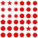 Rétros formes d'étoiles de collection Étincelles de rouge Timbres et cachets de la poste postaux de vintage illustration libre de droits
