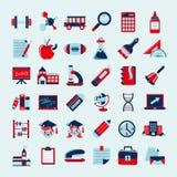 Rétros icônes d'éducation réglées, de nouveau à l'école Image stock