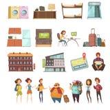 Rétros icônes d'isolement par pension réglées Photographie stock libre de droits