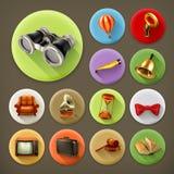 Rétros icônes de longue ombre universelle illustration stock