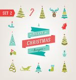 Rétros icônes de Noël, logo, éléments et illustrations ENV 10 Photo stock
