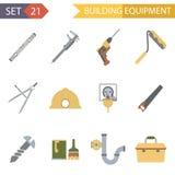 Rétros icônes plates d'équipement de bâtiment et Image libre de droits