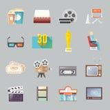 Rétros icônes plates de cinéma réglées illustration stock