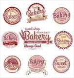 Rétros insignes et labels de boulangerie Photo libre de droits