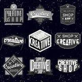 Rétros insignes ou Logotypes de vintage réglés Images libres de droits