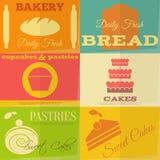Rétros labels de boulangerie Photo stock