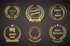 Rétros labels de garantie avec des guirlandes Photos stock