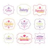 rétros labels de logo de boulangerie Images libres de droits